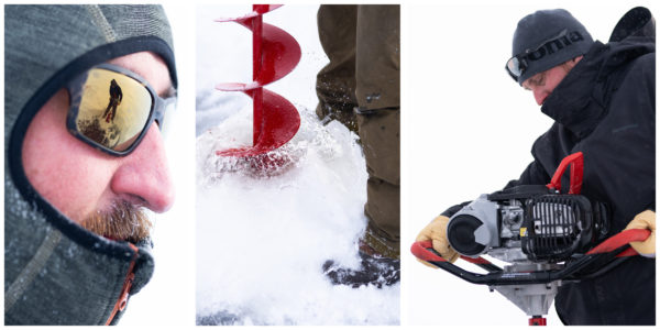 ice auger, ice fishing, drilling ice